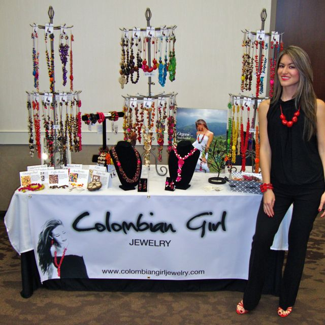 "Our first official booth, showing off our new line of ""organic jewelry."""