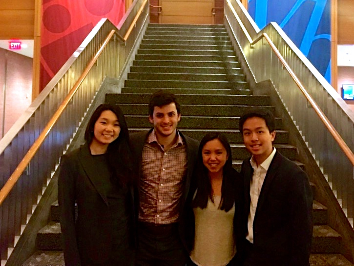 "Four students from Wharton Business School in Philadelphia, Pennsylvania partnered with Colombian Girl Jewelry in the spring of 2015 as part of ""The Social Impact Consulting Group"" (SIC) to further the mission of socially minded organizations.  From left to right, Emily Zhang, Teddy Guenin, Annie Wasserman, and Anderson Tien (project leader)."