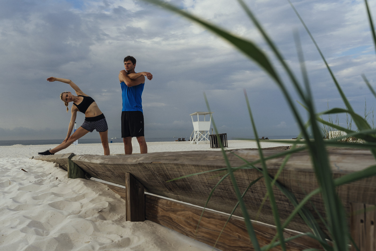 stretching on beach