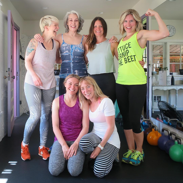 A group of my favorite ladies and myself together after a strong lifting session  ❤
