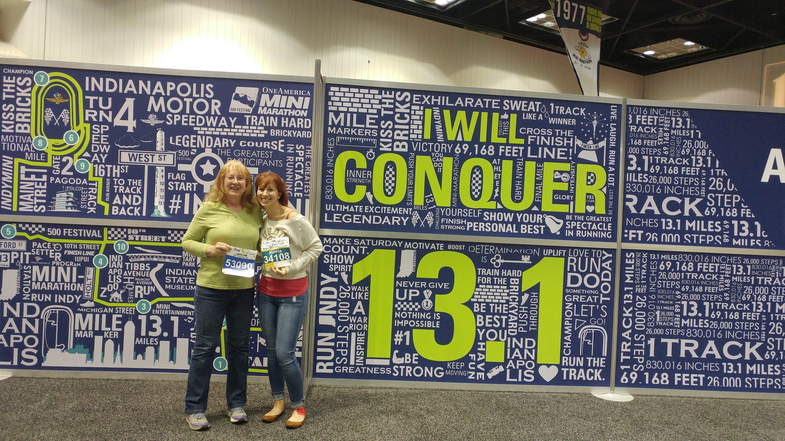 My mom & I at the race expo. She did the 5K and I did the Mega Mini Challenge (5K + half)