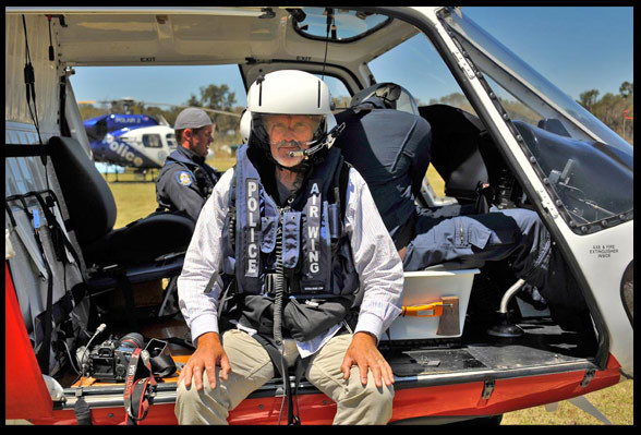 Jon at work with the WA Police Air Wing, shooting from an AS350. Photo by Alan Bacchelli