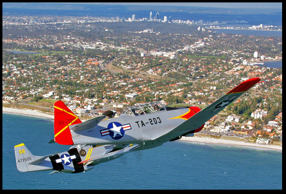 T6 and a P51D Mustang over Kings Park, Perth WA