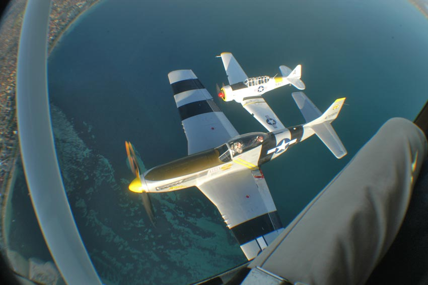 NA P51D Mustang and NA T6 Texan, from a Cessna 182RG