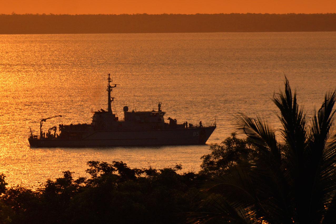 An RAN patrol vessel in Darwin Harbour, NT