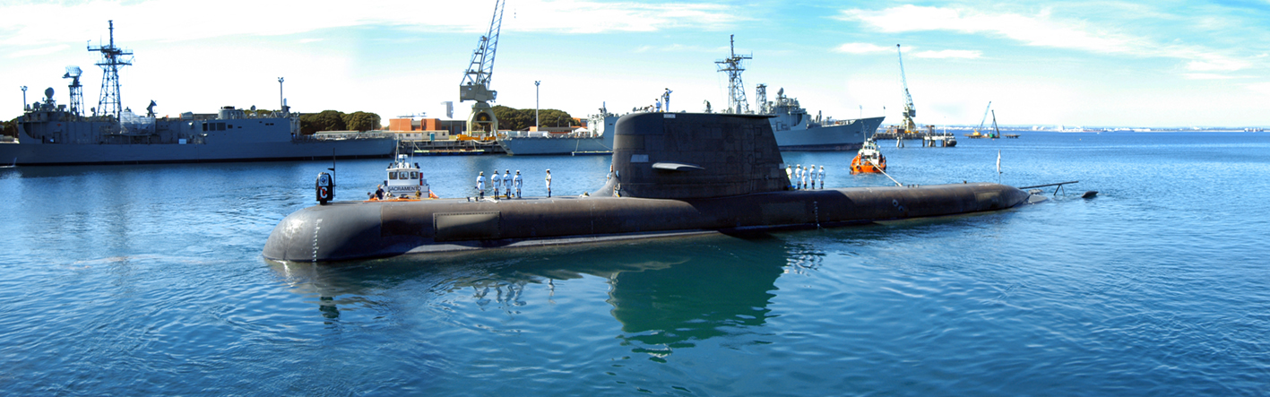 A Collins submarine leaving Diamantina Wharf, garden Island, HMAS Stirling