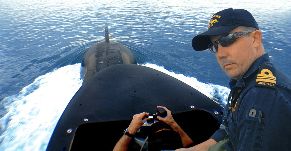 Captain of HMAS Rankin, a Collins Class submarine at sea