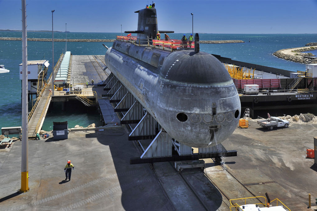 A Collins Class submarine coming off the synchro lift at BAE Henderson