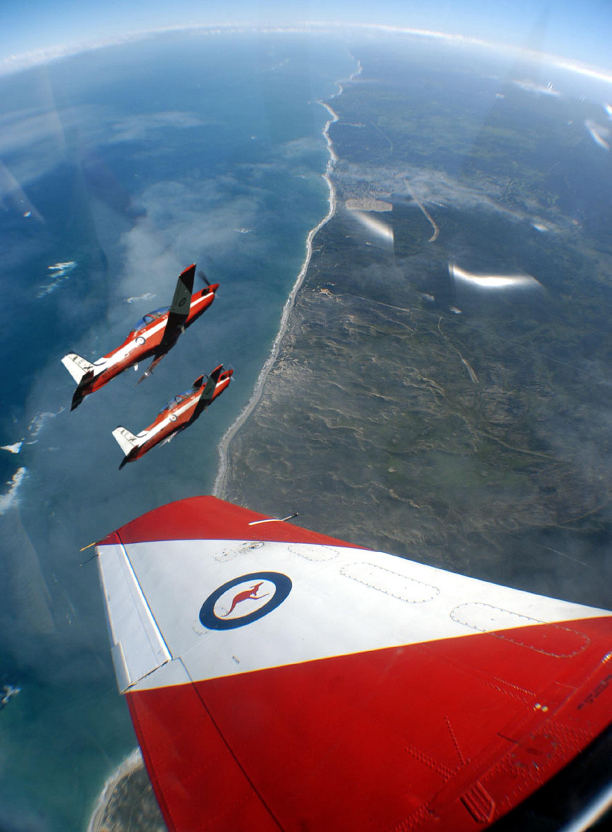 RAAF Pilatus PC9's over Lancelin WA