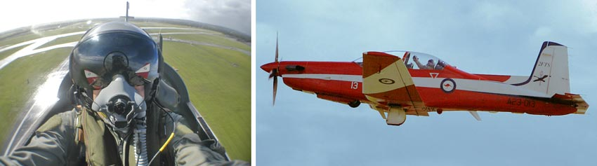 Two different portraits of Jon in a Pilatus PC9. One self portrait and one from colleague Brad Entwistle on the ground, both taken at exactly the same time.