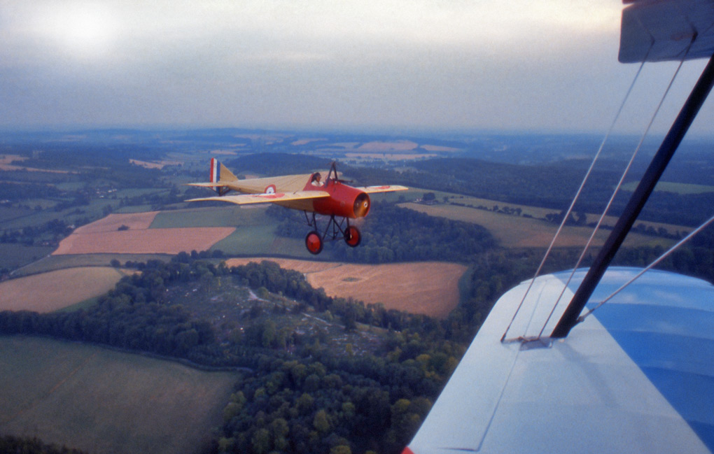 Shooting a Morane-Saulnier Type N, from a Stampe S4C