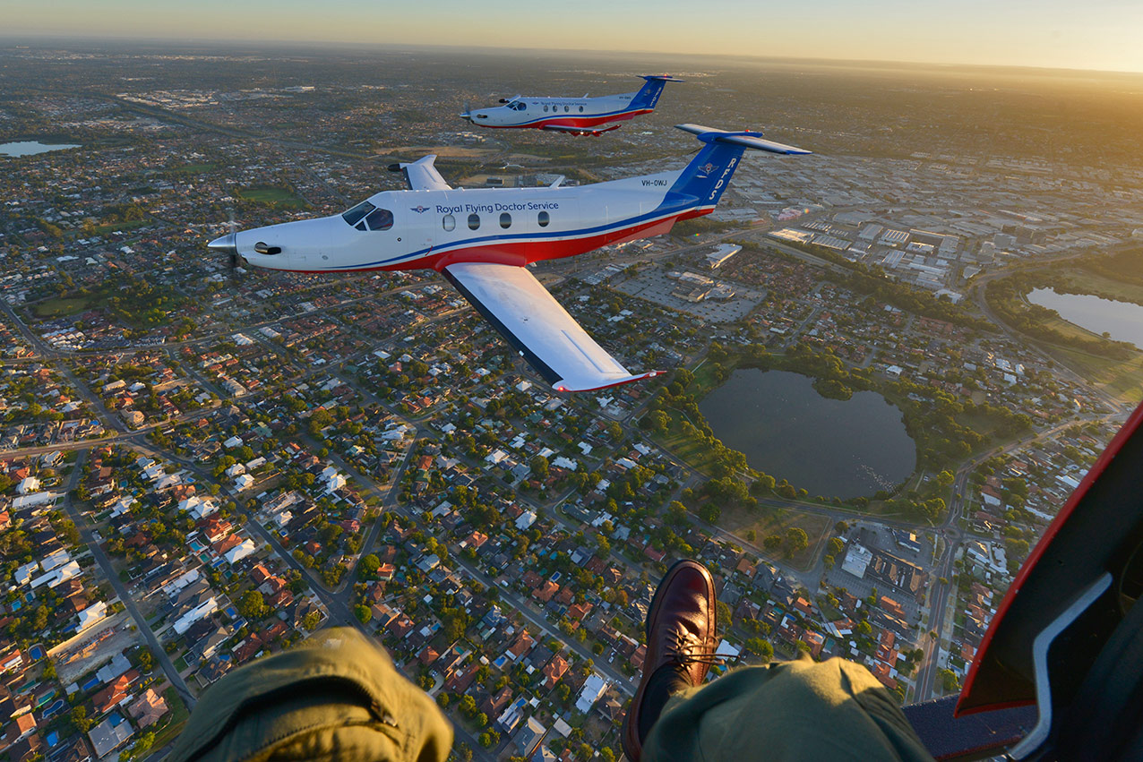 Shooting two RFDS PC12 NG's from an AS350 helicopter