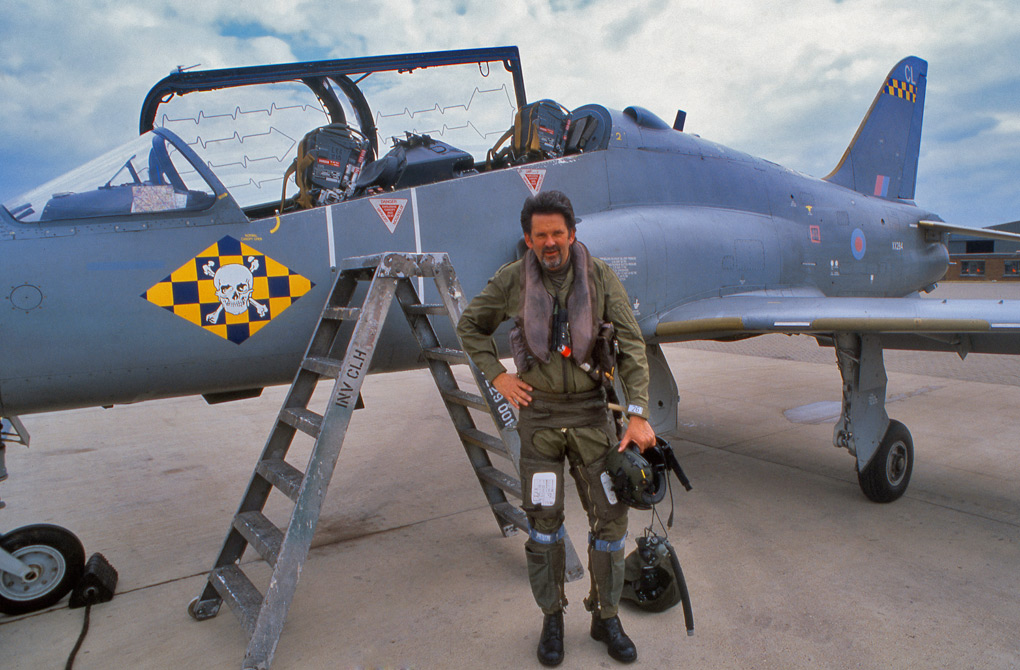 Jon after an A2A sortie in a BAE Hawk, at RAF Brize Norton