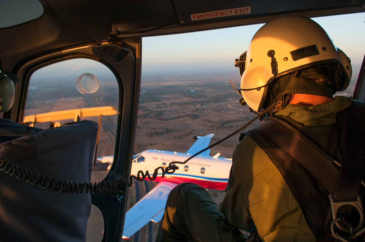 Jon shooting an RFDS PC12 NG, from an AS350 helicopter. Photo by Jackson Davison