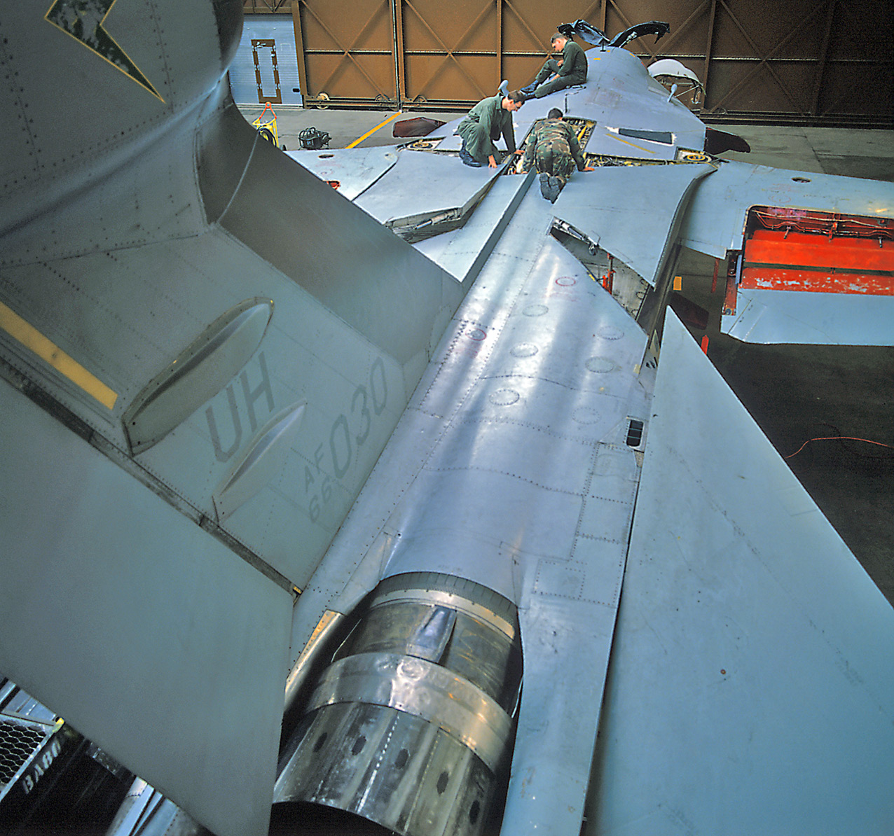 A 42nd ECS EF-111A at the Upper Heyford Phase workshops, 1990