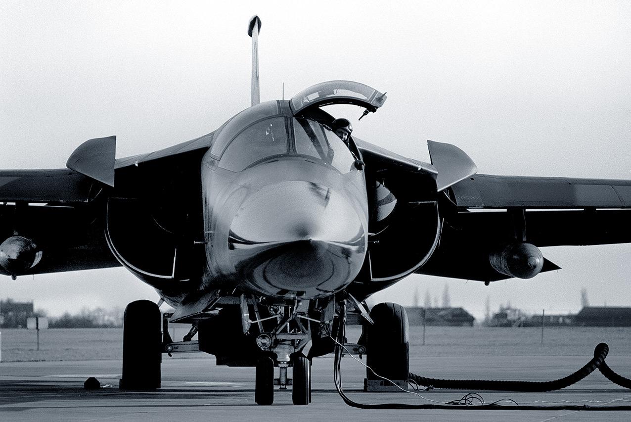 An F-111E outside its hangar, RAF Upper Heyford, 1990