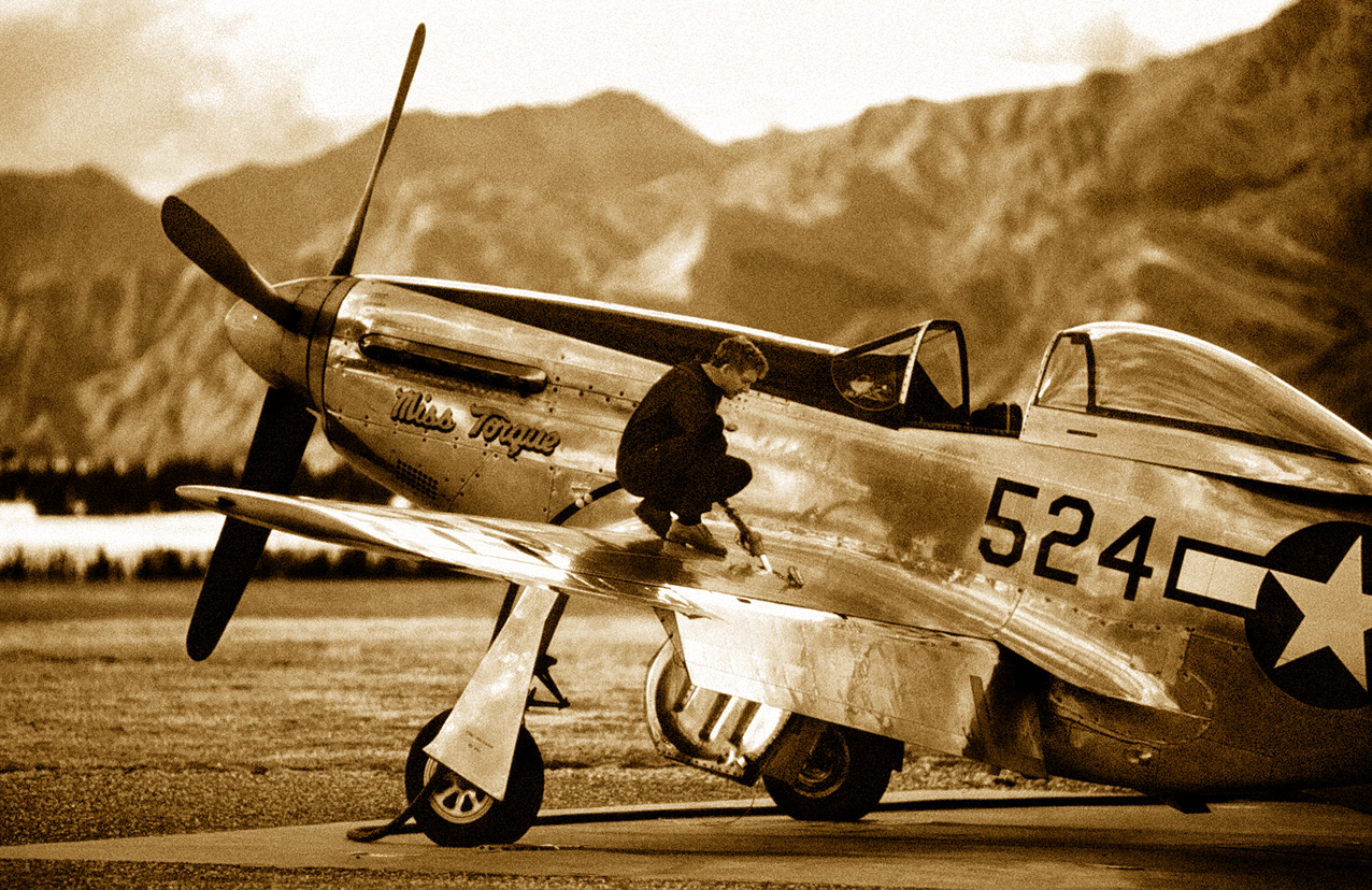 The late Tom Middleton refuelling a P51 at Wanaka, New Zealand