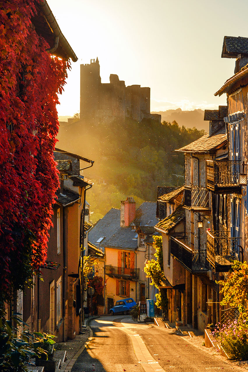 Hilltop town of Najac, France.