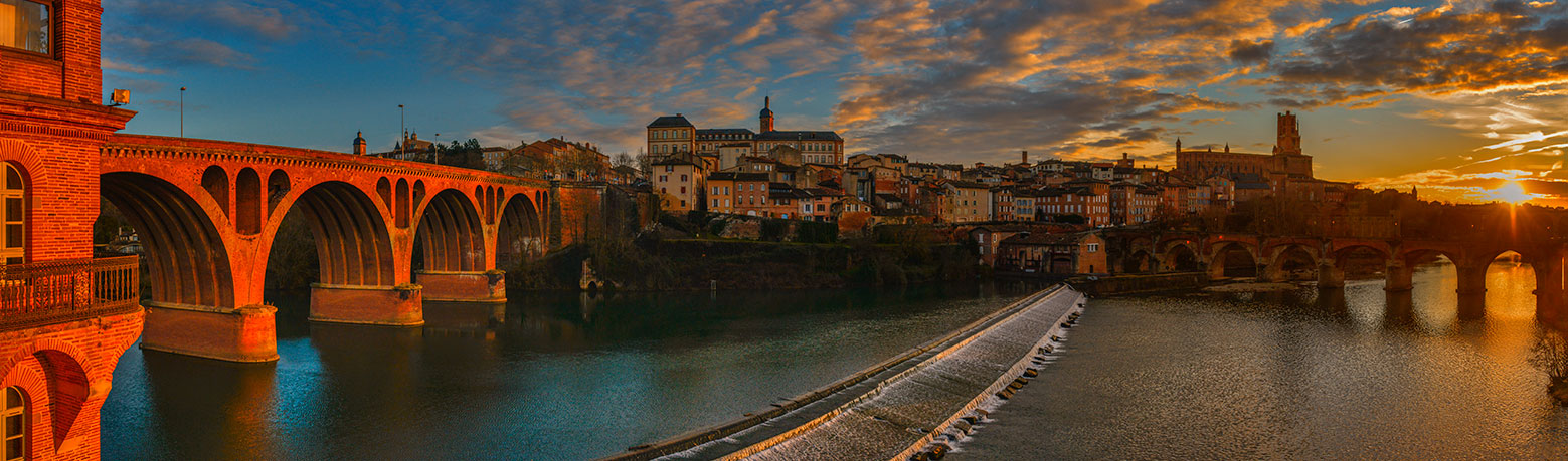 Albi panorama at sunset