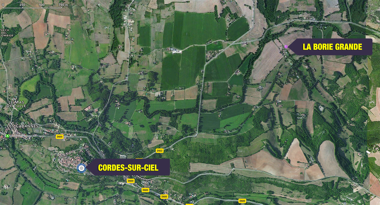 Google map of relationship between Cordes and Campes