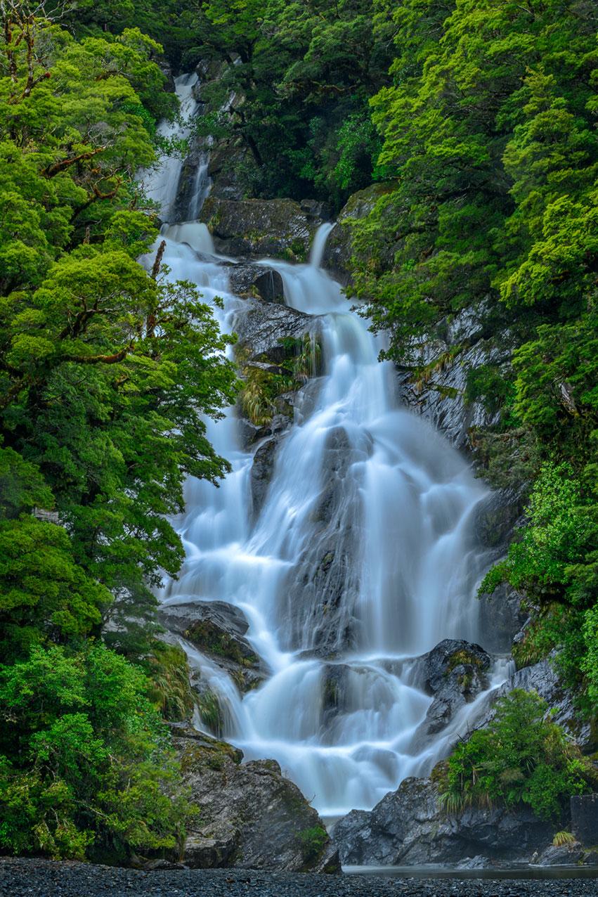 Fantail Falls, Haast River, Westland