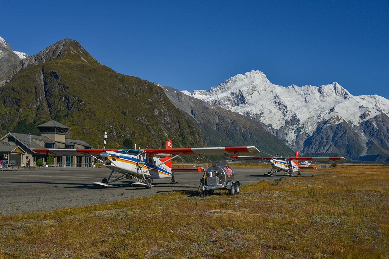 Pilatus PC6 Turbo Porters at Mt Cook National Park airfield