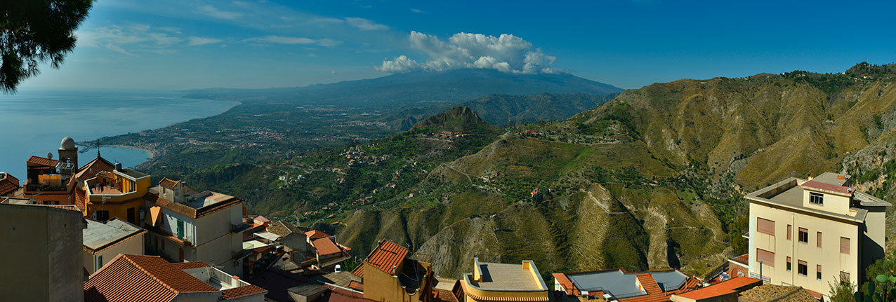 View from Castelmola towards Mt Etna, Sicily