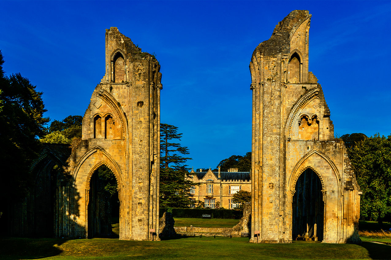 The ruins of Glastonbury Abbey, Somerset.