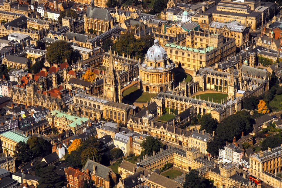 Aerial view of Oxford.