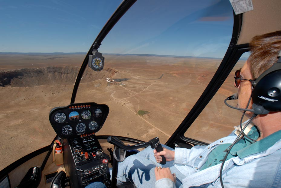 Maria Langer of Flying M Air approaching the Meteor Crater, Arizona