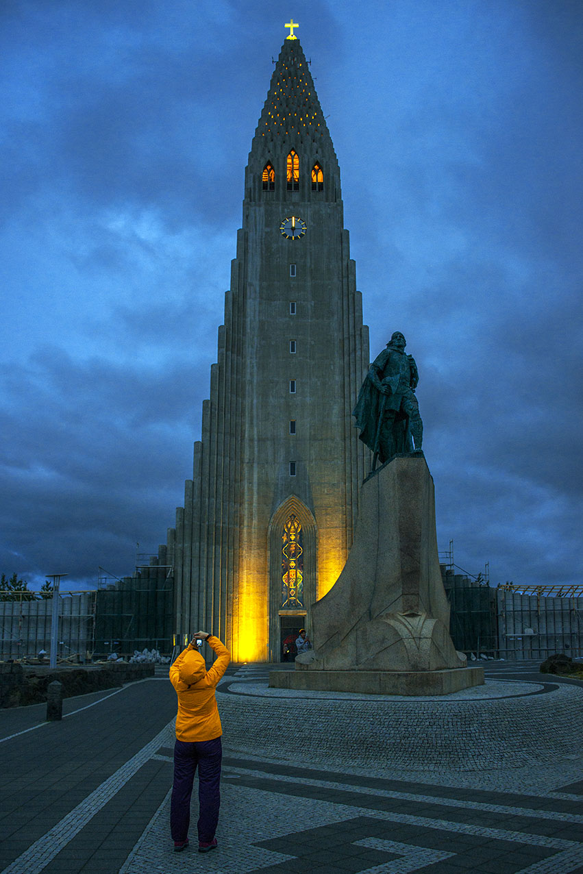 Reykjavik Church at midnight