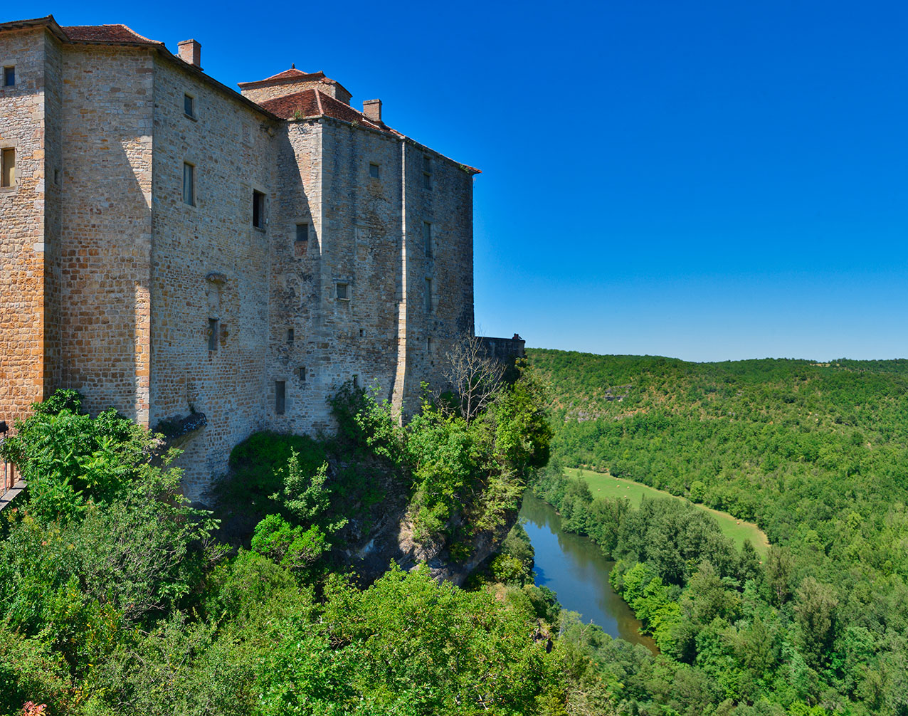 Chateau Bruniquel high above the river Aveyron