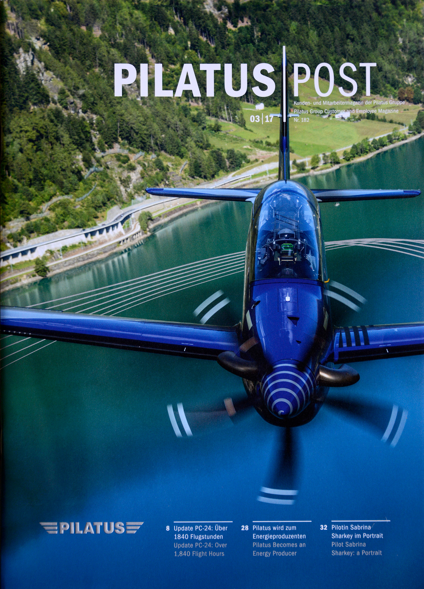 Cover of Pilatus Post 03/2017, shot from a Shorts Skyvan flown by Philip Artweger.