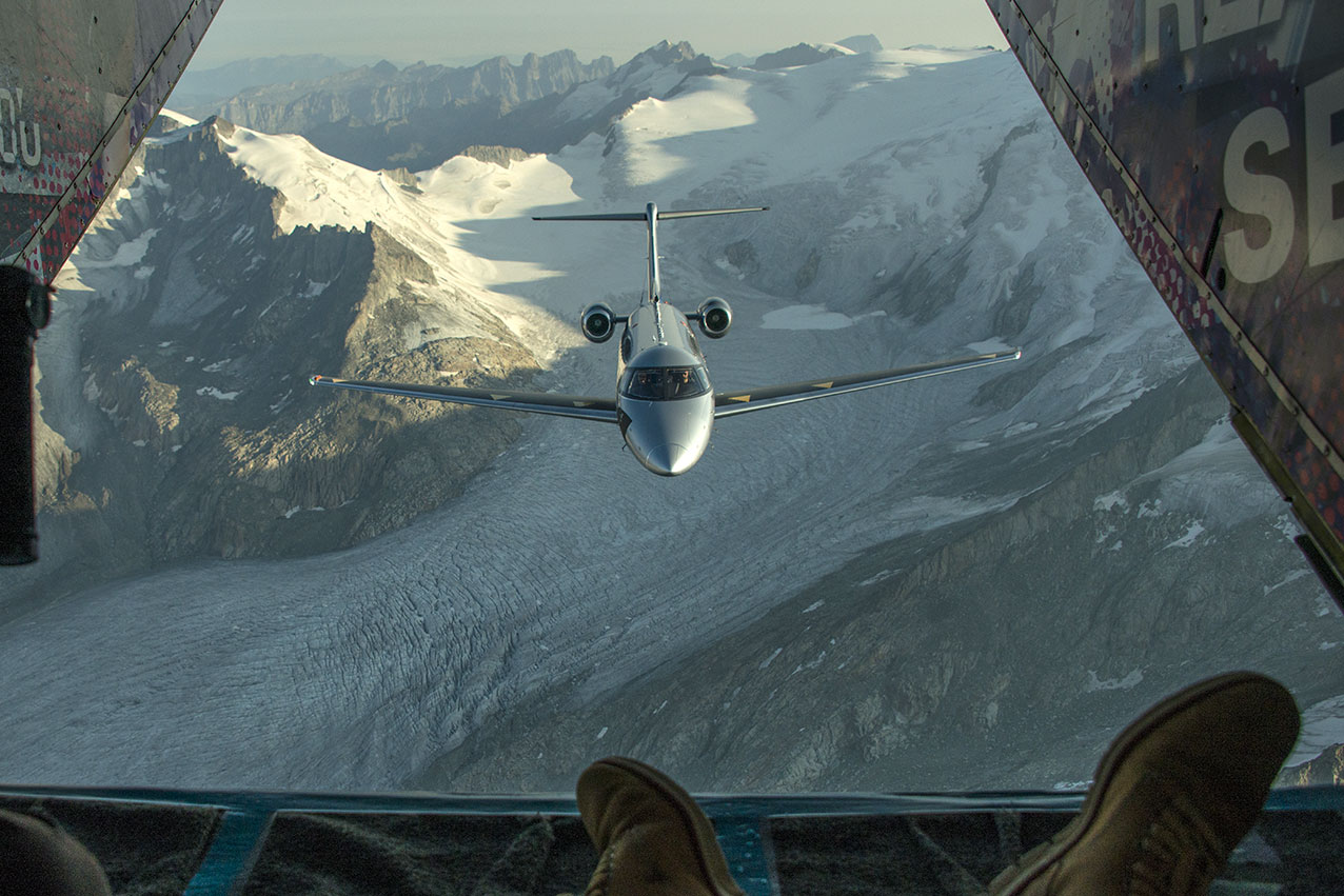 My POV from a Shorts Skyvan over the Swiss Alps, shooting a Pilatus PC24