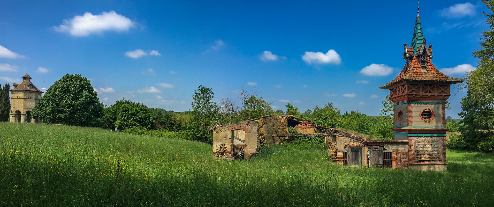 Panorama of the two Pigeonniers at Chateau Beillard, near Merville