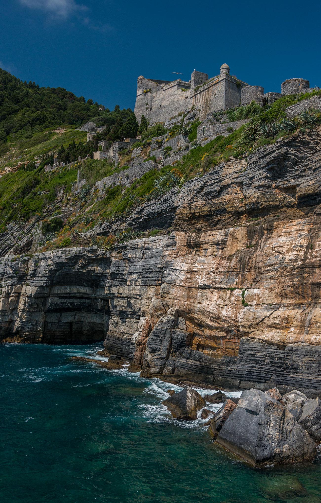 The Doria Castle and cliffs at Porto Venere