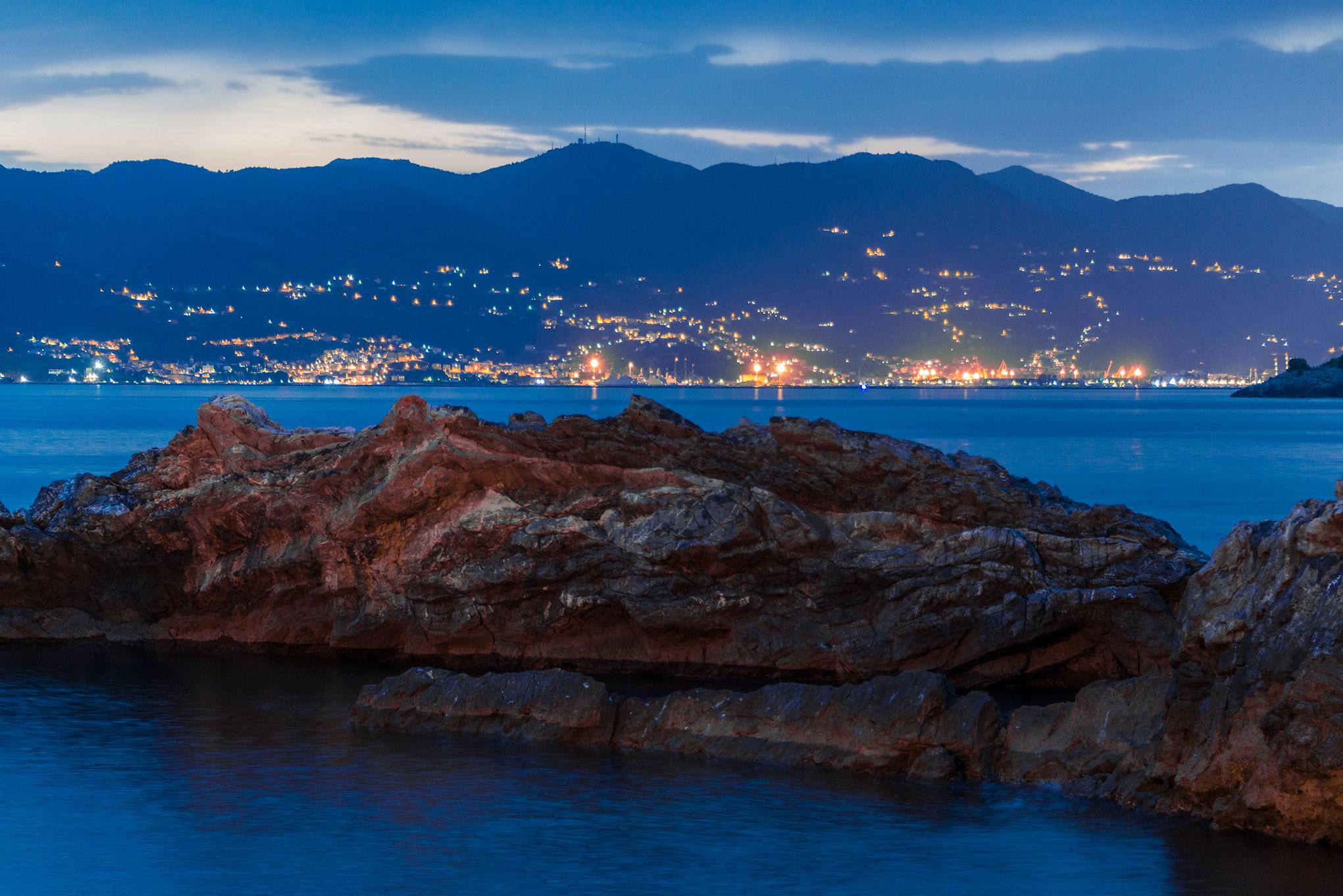 The lights of La Spezia, viewed from Tellaro