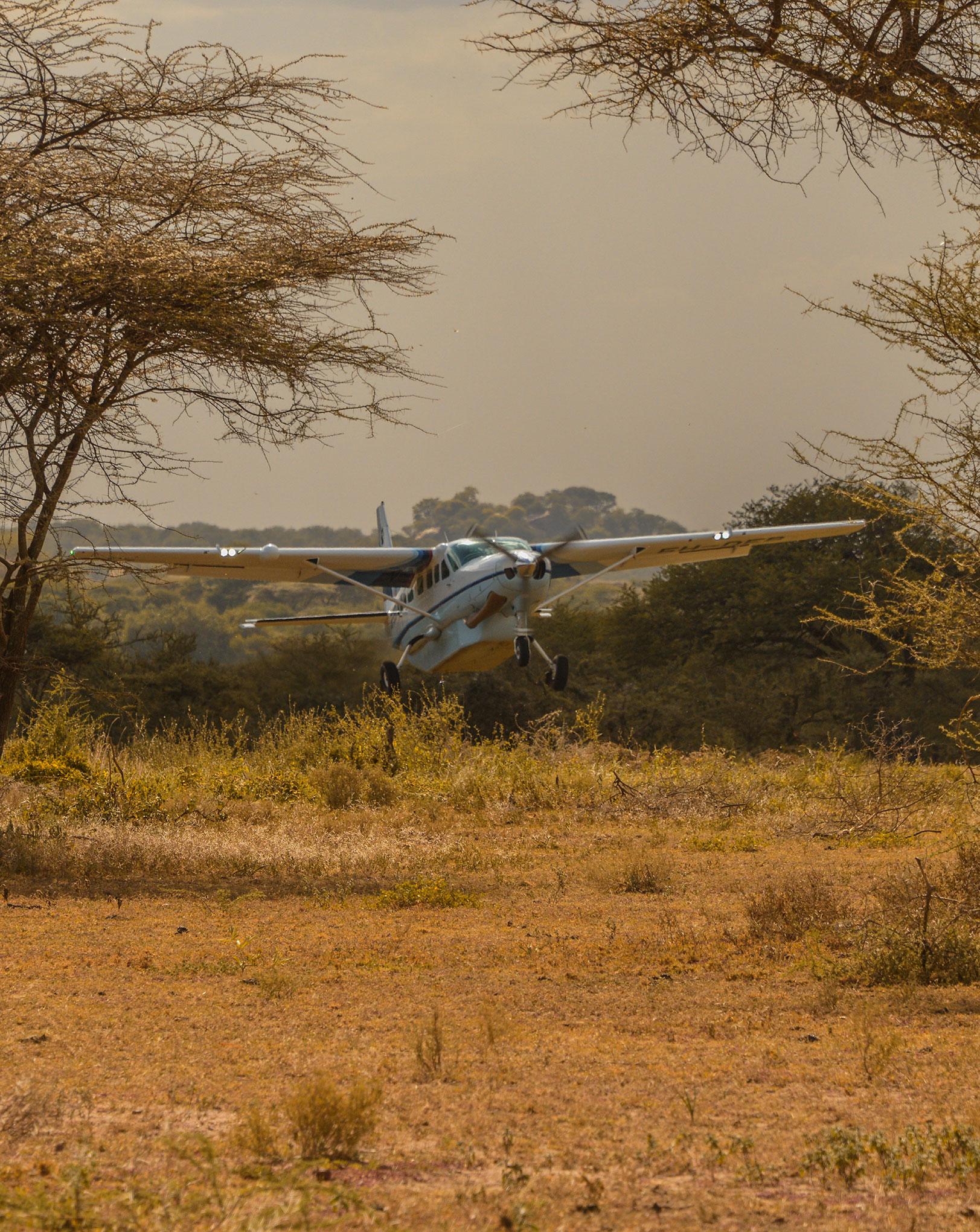 A Caravan landing at Ubuntu airstrip in Tanzania