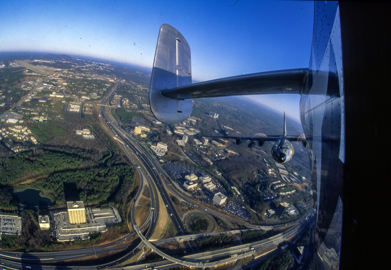 My point of view of the C130 subject ship, from the B25 Mitchell camera ship over Atlanta, Georgia UAS