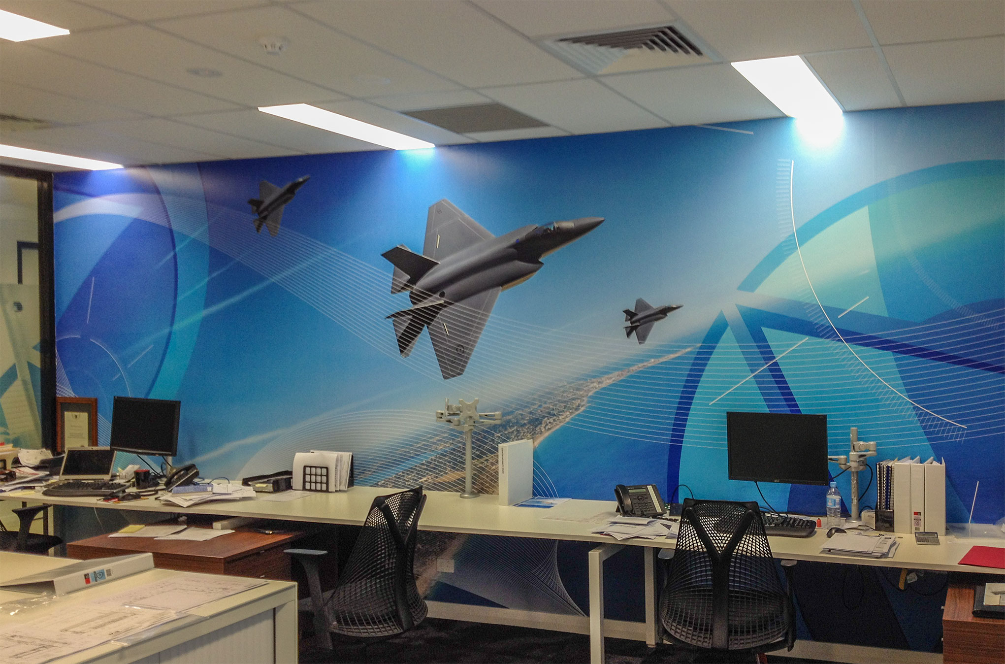 Inside walls of Airflite offices featuring my F35 Lightning  diorama