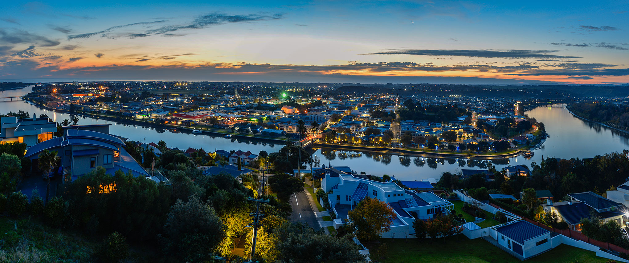 Whanganui city and river by twilight