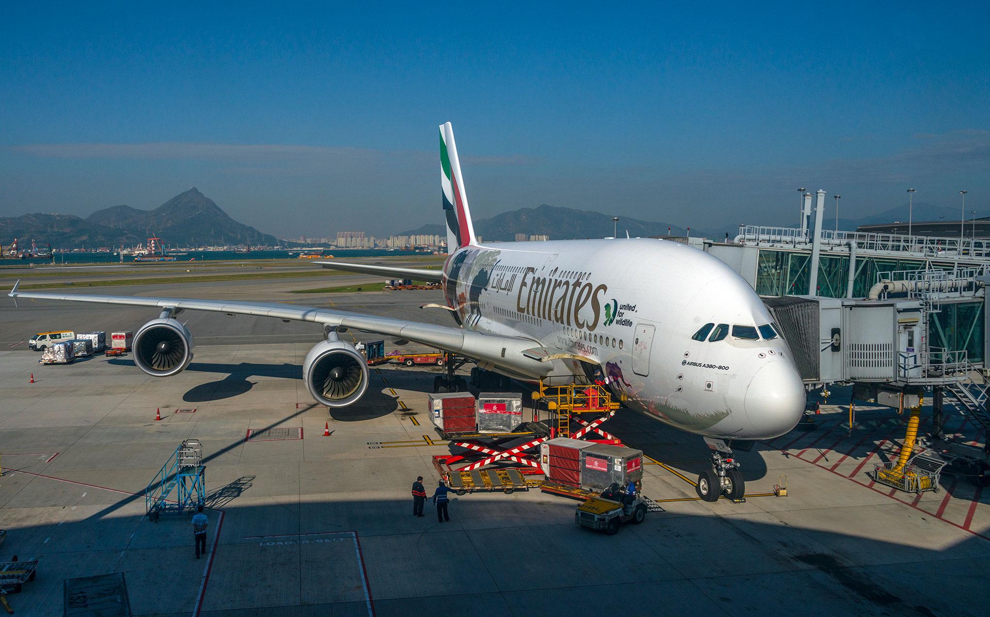 Emirates A380 at Hong Kong airport