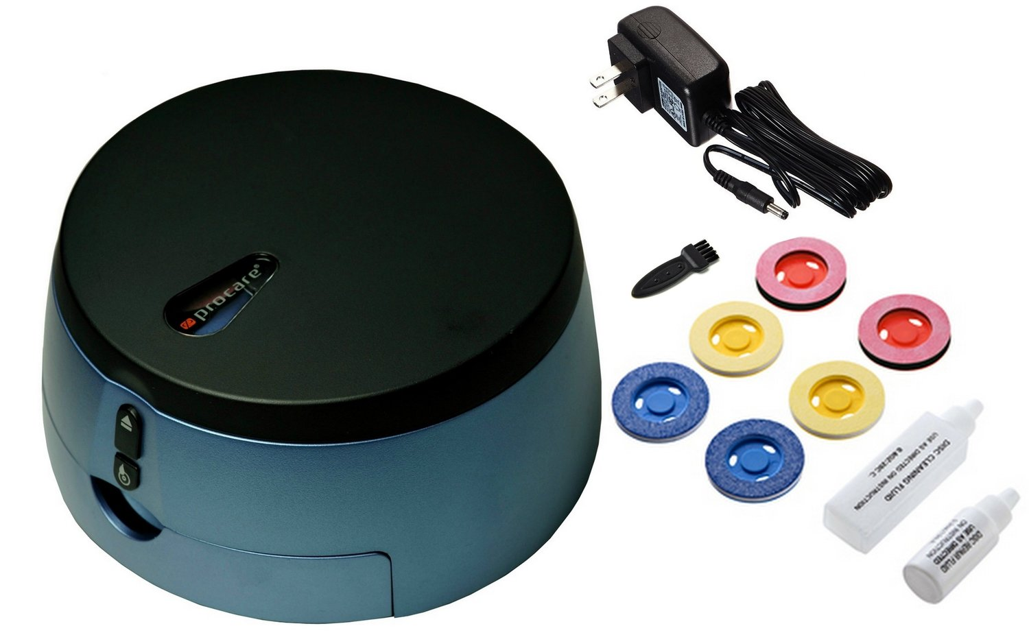 - Package contents1 Disc Repairing and Cleaning machine1 Repair fluid 10cc. 1 Cleaning fluid 20cc. 2 Cleaning pads - blue2 Buffering pads - pink2 Repairing pads - yellow1 Mini brush1 Power adapter1 Instruction manual