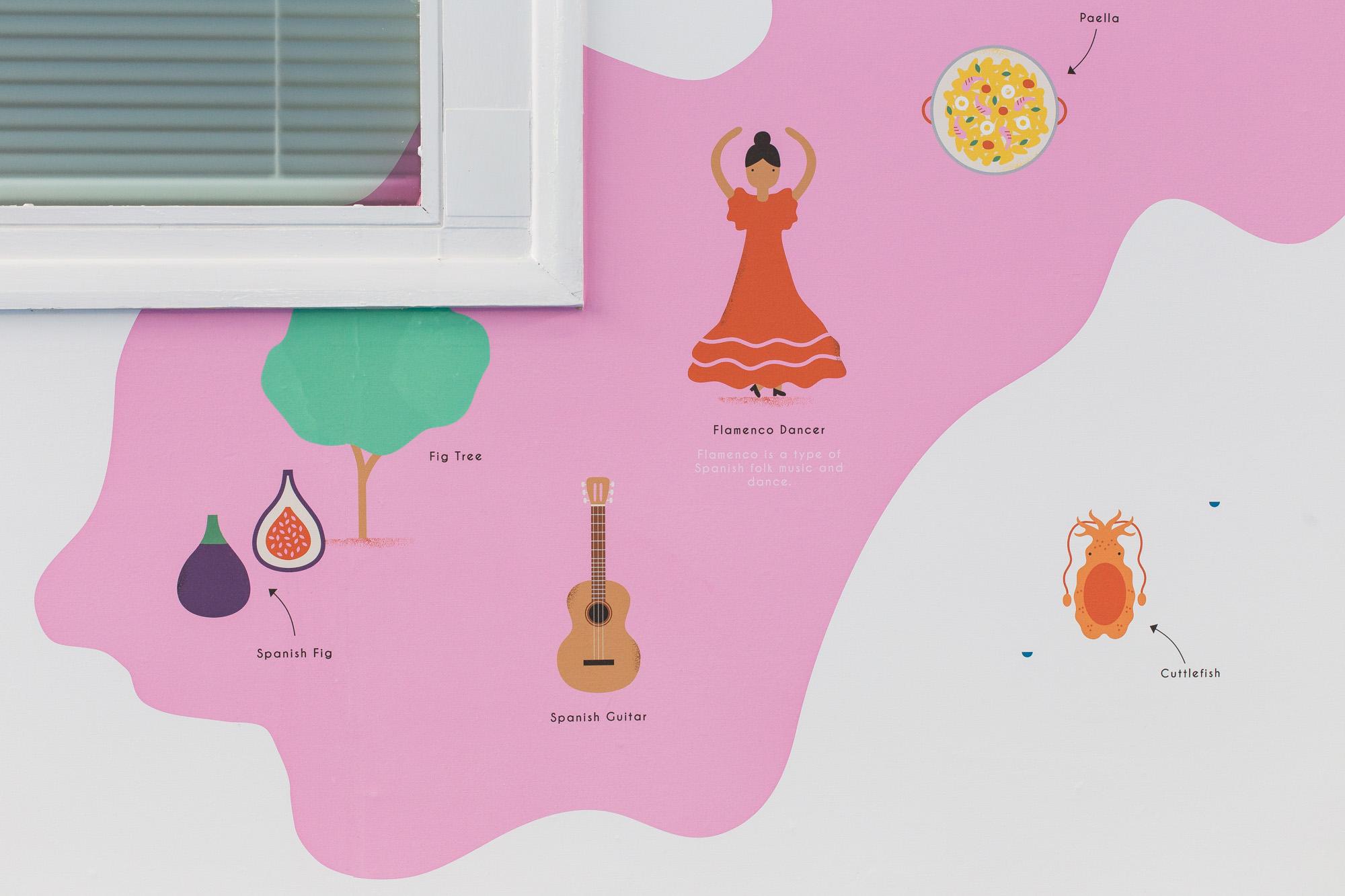 hannahalice-illustration-spacedesign-world-map-grazebrookprimaryschool-mural-spain-flamenco-dancer-fig-wallpaper.jpg