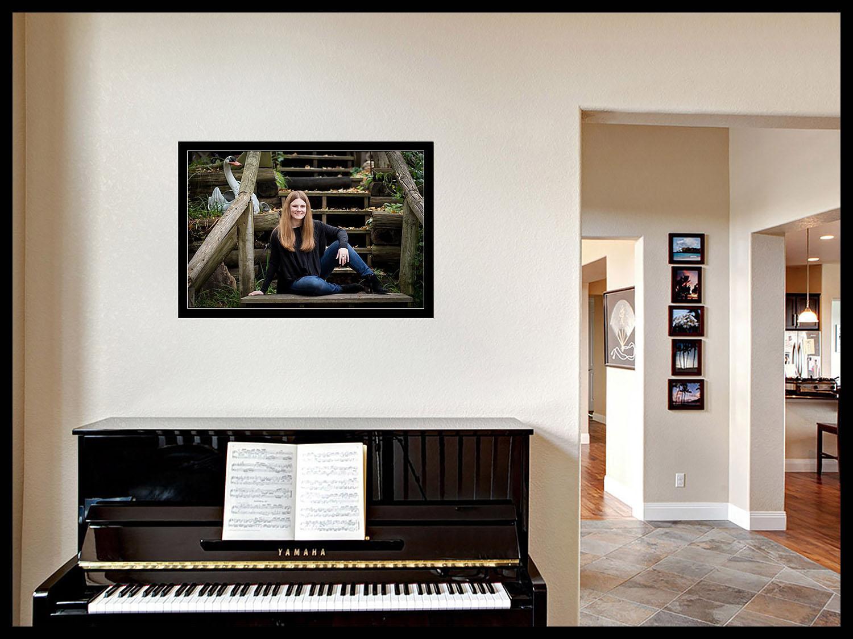 Senior girls portrait over piano.
