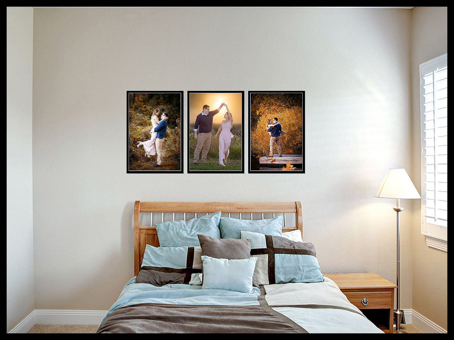 Engagement pictures on wall.