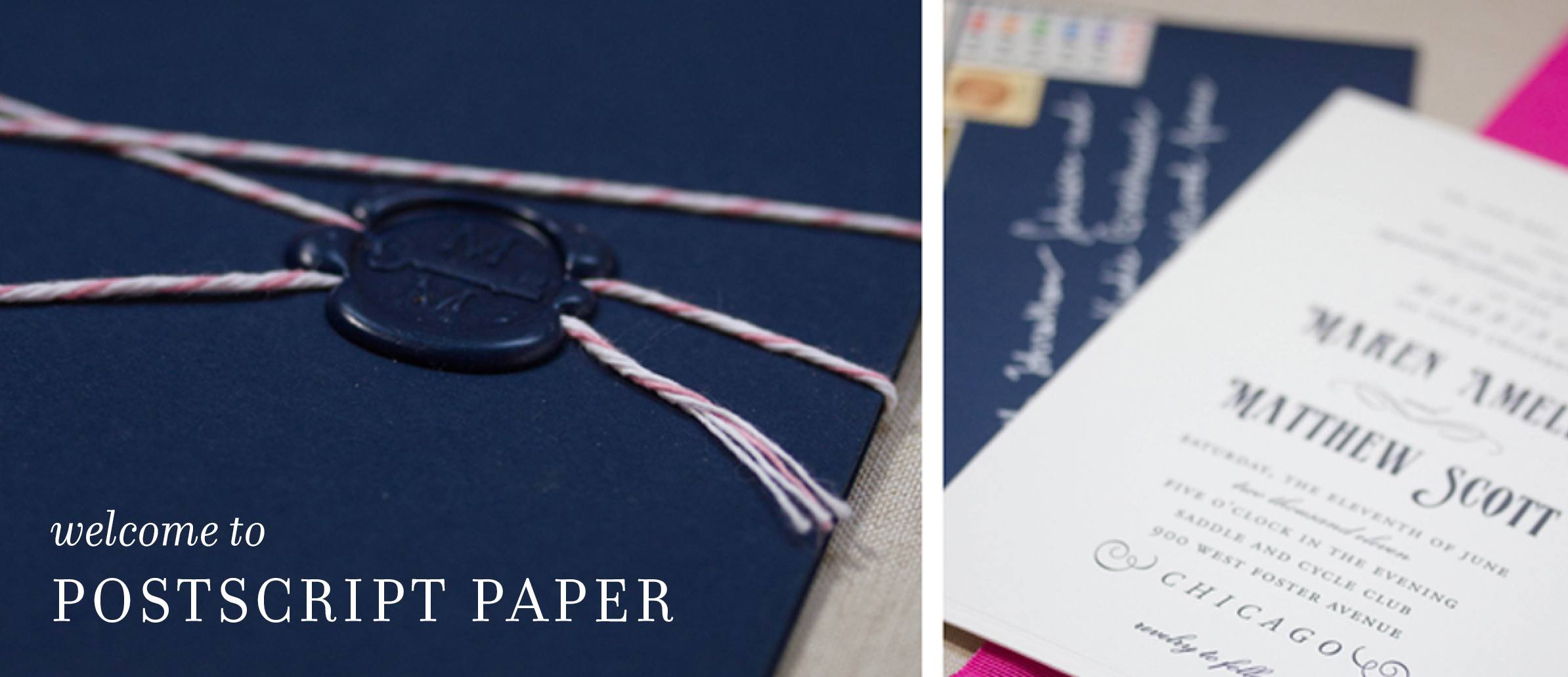 postscript paper chicago letterpress wedding invitation
