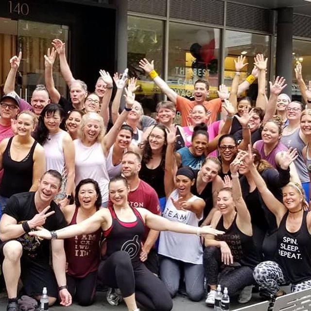 Buy a stationary bike and your life will change. .  Only if you are open to it. .  Thanks to #Peloton and @iamicaniwillido for once again being the conduit for the magic. .  And to the many beautiful people, sorry that not all are pictured, for bringing open hearts and arms as always. . 💙💥