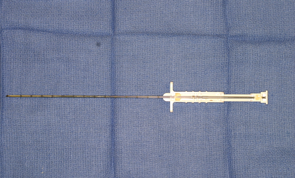 """Tru-cut"" biopsy needle, used for office biopsy of soft tissue tumors"