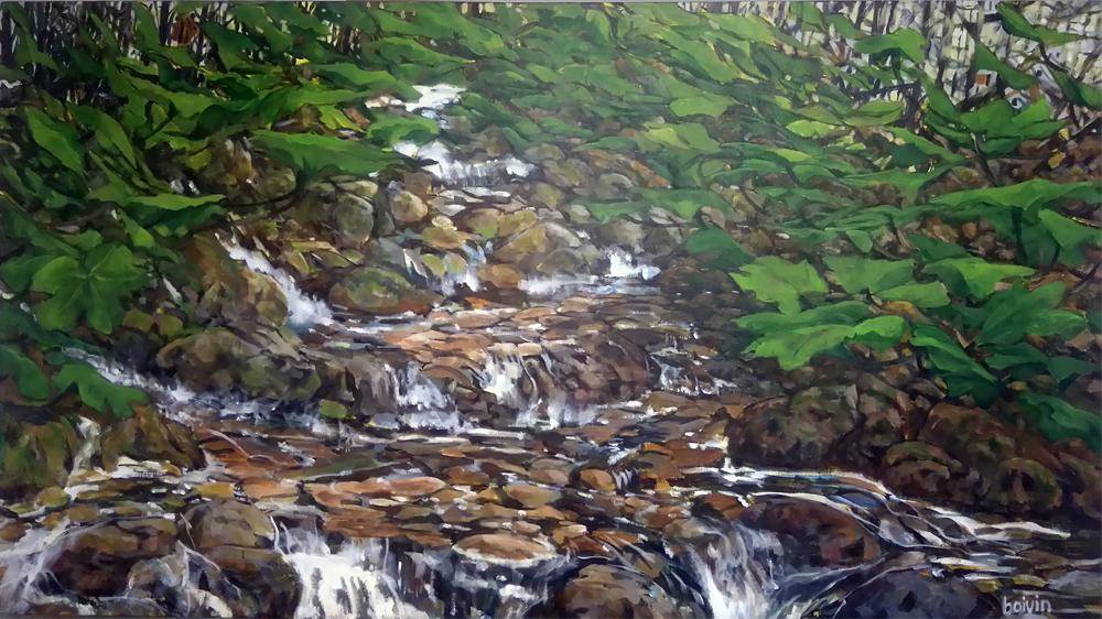 Clubfoot Stream, 31 x 57, acrylic, $1575